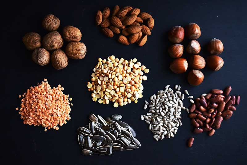 Low-carb high protein nuts and seeds on the ketogenic diet food list.